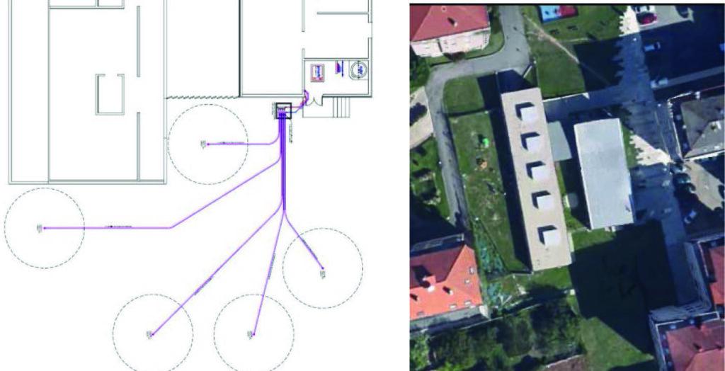 InfoTUB 2014-006 Geotermia – Suelo radiante: caso de éxito 7 de 10 Figura 7. Ubicación del campo de captación geotérmico. Fuente: Magaral Ingeniería