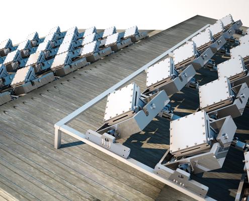 Ejemplo de módulo inclinado de los paneles solares de Solarays
