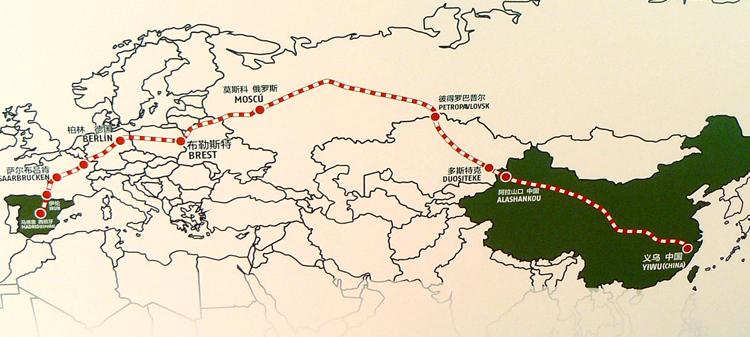 Mapa de la ruta China-Madrid