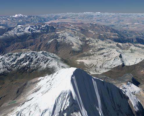 Vista aérea de las montañas por las que pasará el gasoducto