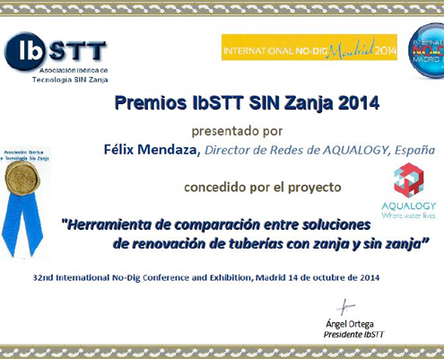 Diploma a Aqualogy del Premio Novedad Sin Zanja 2014