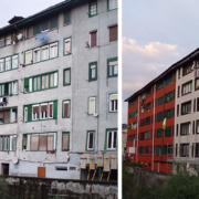 Comparativa antes y despues de un edificio rehabilitado con SATE