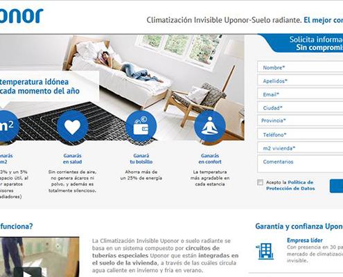 Captura de pantalla del Home del Portal web de Uponor