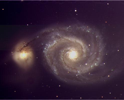 """Fotografía de la galaxia M51, también conocida como """"galaxia del remolino"""", obtenida por PAUCam. (Imagen, IFAE)."""