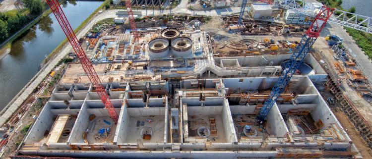 Encofrados y andamios ULMA en la planta de tratamiento de aguas en Praga