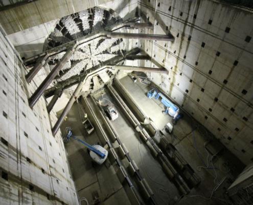 La tuneladora Bertha en el Alaskan Way Viaduct a vista de dron