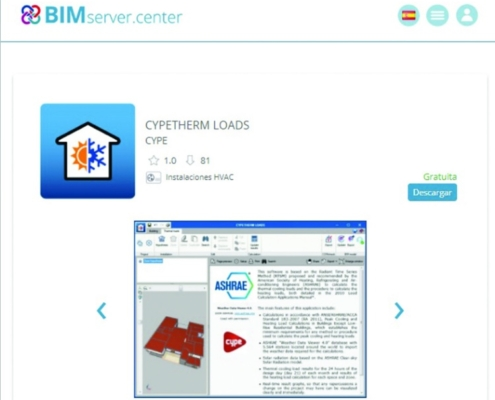 La plataforma digital BIMserver.center integra el software CYPETHERM LOADS