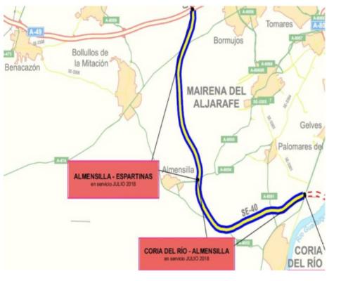 Puesta en servicio de dos tramos de la SE-40 entre Coria del Río y Espartinas en Sevilla