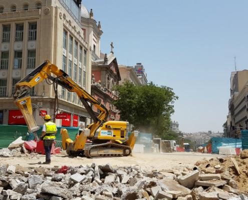 Los robots de demolición Brokk realizan la obra de Canalejas en Madrid