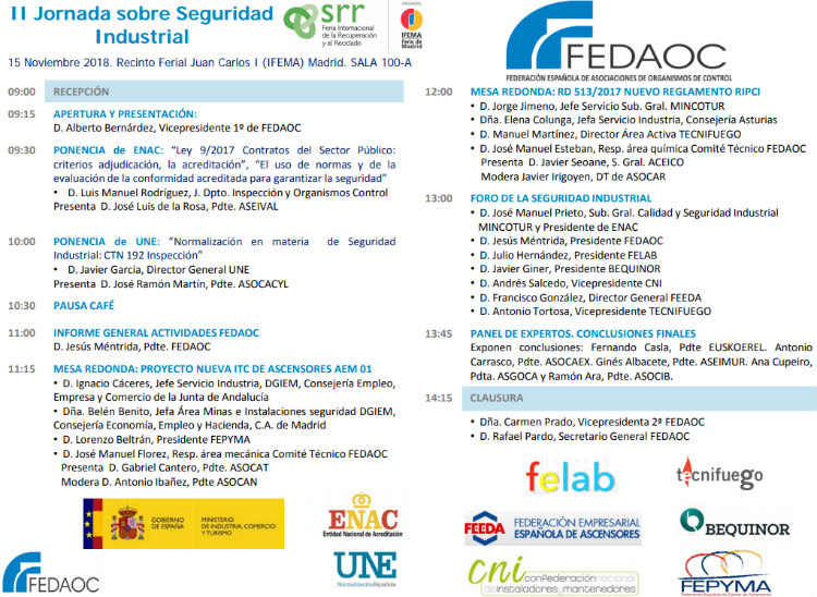SRR patrocina la II Jornada sobre Seguridad Industrial de FEDAOC