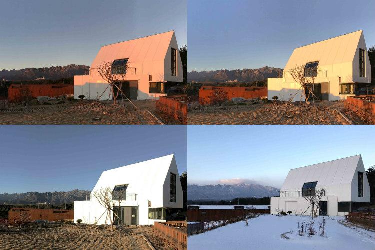Una casa con la fachada y el tejado realizados en HI-MACS® Alpine White se integra con la naturaleza y cambia de apariencia en función de su entorno.
