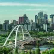 Puente arco metálico, Walterdale, Canada