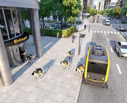 Vehículos sin conductor y robots de reparto autónomos de Continental