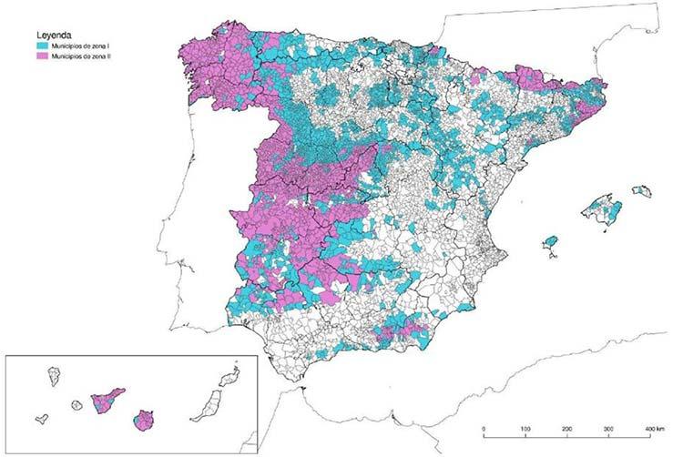 Mapa de municipio clasificados por niveles de potencial de radón