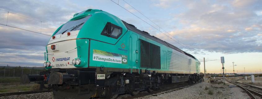 """""""Tiempo de actuar"""" de la COP25 circula en locomotora Transfesa Logistics"""