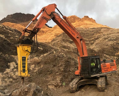 Martillos Epiroc para trabajos complicados en carreteras de Gran Canaria