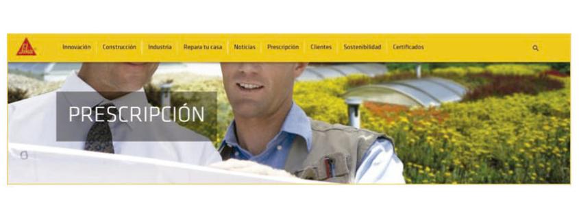 """Área """"Prescripción"""" en la nueva web de Sika España"""