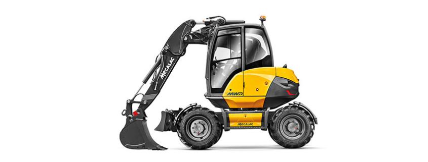 El brazo de excavadora con offset disponible en las excavadoras Mecalac 6MCR y 7MWR