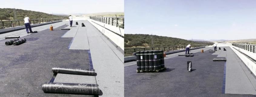 Claves del éxito de la impermeabilización en un viaducto del AVE Madrid - Extremadura
