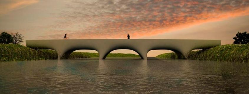 El puente peatonal de hormigón impreso en 3D más largo del mundo