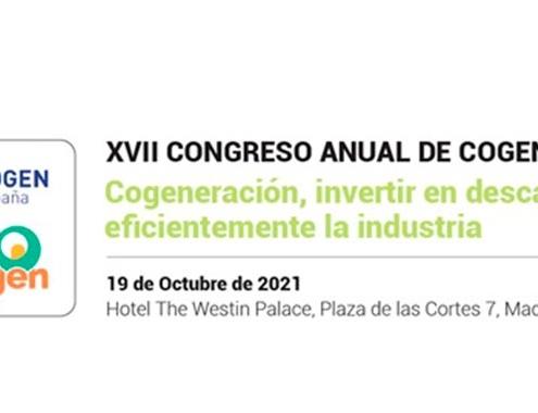 XVII Congreso Anual de Cogeneración el 19 de octubre en Madrid