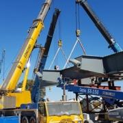 Plataformas Genie® en la construcción del puente Mohembo en Botsuana