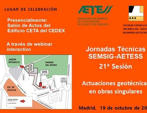 21ª Sesión de las Jornadas Técnicas SEMSIG-AETESS